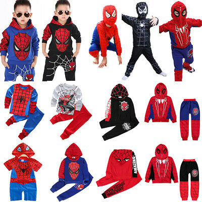 Spiderman Tracksuit Outfits Kids Boys Baby Hoodies Top+Pants Costume Clothes Set