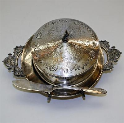 Anrique Silver Plate Covered Butter Dish by Taunton, with Butter Knife