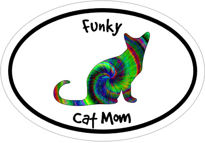 Cat Decal - Oval Tie Dye Funky Cat Mom Vinyl Sticker - Free Shipping