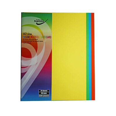 40 Sheets A3 Multi-Coloured Card 160gsm Paper For Home School Office Craft Art