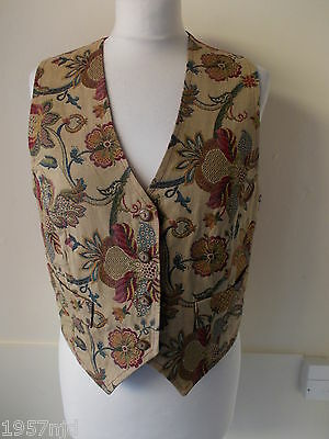 Women's Vintage Beige Green Pink Flower Tapestry Waistcoat by Principles size M