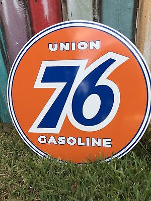 Antique Vintage Old Style Union 76 Gasoline Sign