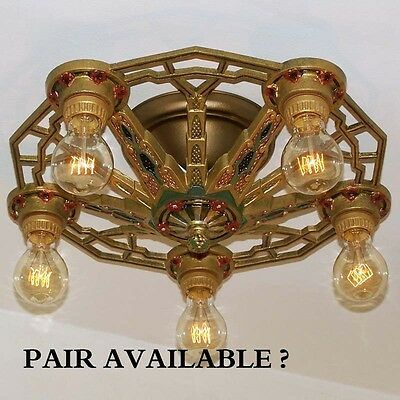 886 Vintage 20s 30s Ceiling Light lamp fixture art nouveau polychrome chandelier