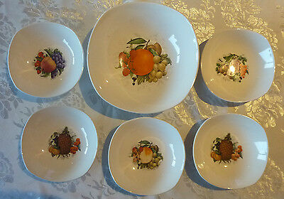 Johnson Australia Earthenware Sweets Set Sovereign Pottery Fruit Motif 6 Pieces
