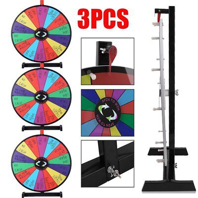"""3PCS 24"""" Color Prize Wheel Fortune Folding Floor Stand Carnival Spinnig Game MA"""