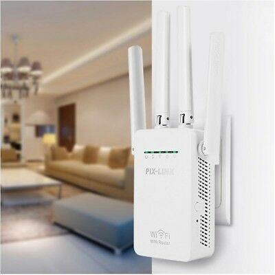 Wifi Repeater Wireless Router Range Extender Signal Booster with Antenna Sky Wps