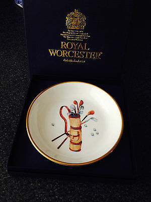 "Royal Worcester Coaster. ""golf"""