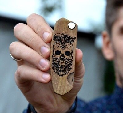 Wood Beard Comb Skull Engraved Pocket Size Custom Gift For Boyfriend Father