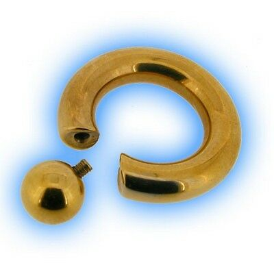 Screw Fit Large Gauge BCR Heavy CBR Gold Plated Ring PA Prince Albert 8mm 0g