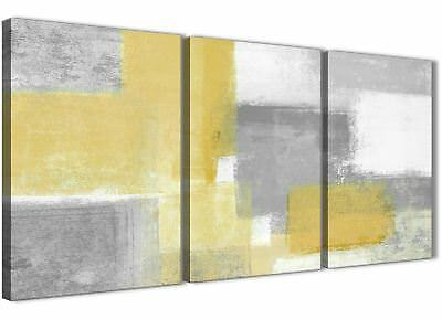3 Part Mustard Yellow Grey Hallway Canvas Decor - Abstract 3367 - 126cm
