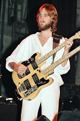 """12""""*8"""" concert photo of Mike Rutherford of Genesis playing at Liverpool in 1980"""