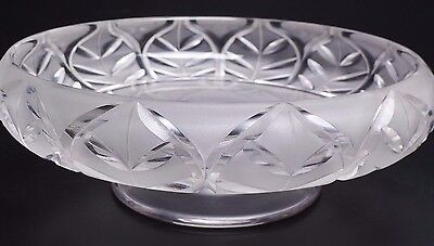 Rare Antique Steuben Frosted And Clear Crystal Pedestal Bowl