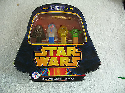 Limited Edition Star Wars with 4 Pez  Characters in Darth Vader Tin Sealed