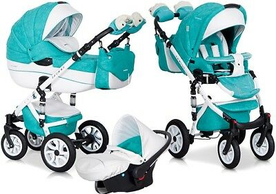 RIKO BRANO ECCO MALACHIT 15 PRAM 3in1 CARRYCOT + PUSH CHAIR + CAR SEAT