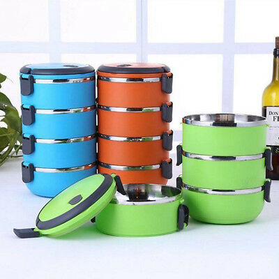 Stainless Thermo Insulated Thermal Food Container Bento Round Lunch Box 1-4Layer