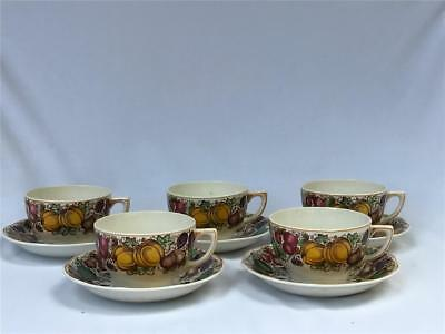 5 Vintage Barker Bros. BAB4 Thanksgiving Harvest Transferware Cup & Saucer UK