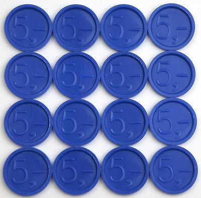 Deposit Coins, Tokens, Beverage with Embossing 5 Blue Amount Selectable