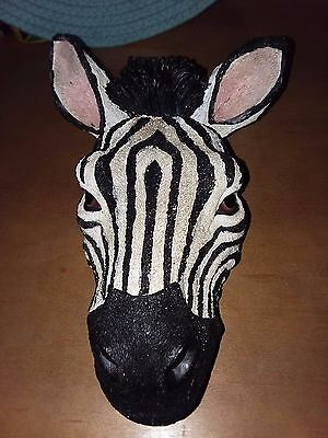 Multicolored heavy resin Zebra head wall hanging