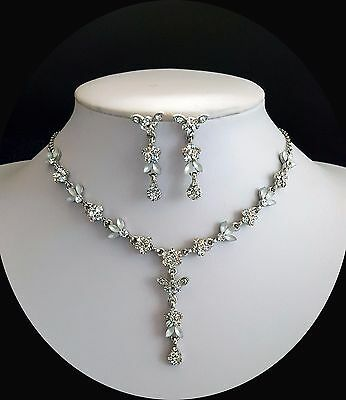 Bridal Necklace/Earrings Set, Clear Australia Crystals, Vintage Jewelry N3026