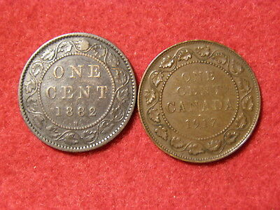 1882 H & 1917 Canada Large Cents '2 Coin Lot' [Evenly Worn Circ]