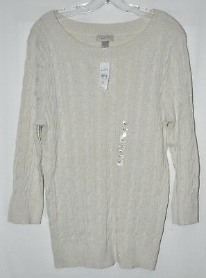 Ann Taylor Loft Sweater Cable Knit Off-White Shimmer Sz XLarge NWT