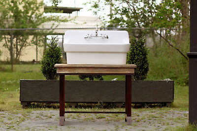 Transitional Reclaimed Wood Single Vanity Porcelain High Back Farm Sink Package