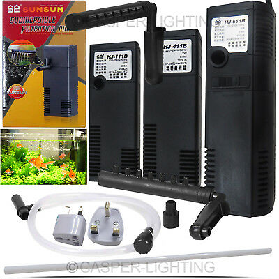 Aquarium Fish Tank Filtration Internal Filter Submersible Water Pump Free PLUG