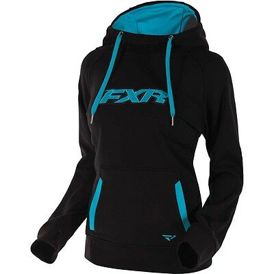FXR WOMENS SIGNATURE TECH PULLOVER HOODIE SWEATSHIRT- Black / Aqua - Large - NEW