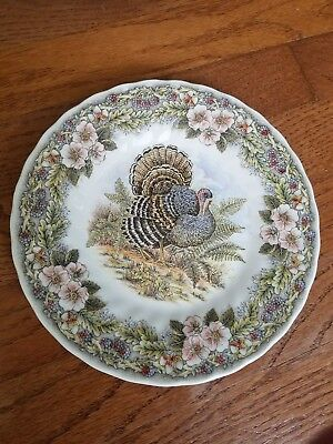 """Four (4) QUEEN'S """"THANKSGIVING"""" LUNCH PLATE(S) MYOTT FACTORY ARCHIVE 8"""""""