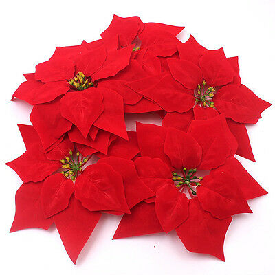 Artificial Flowers Red Poinsettia Christmas Tree Ornaments Festive Winter 8 Inch