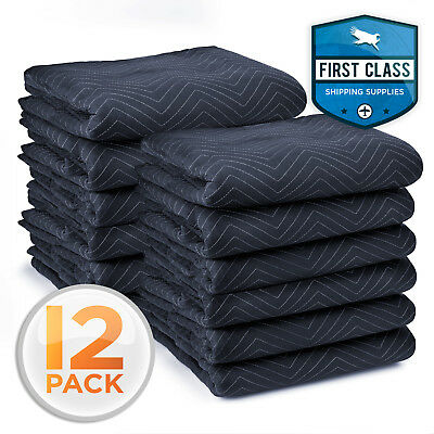 "Pro Economy Moving Blankets Furniture Pads 12 Pack 72"" x 80"" 35 lbs/Dozen"