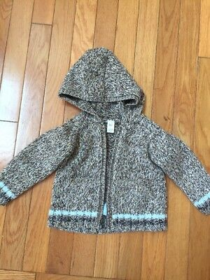 bdfff58c2563 BABY GAP BABY Boys Size 6-12 Months Brown Blue Cable Knit Zip Up ...