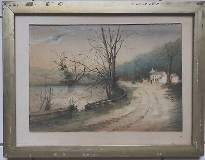 Beautiful Very Old  Watercolor Unsigned Road In Ireland