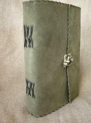 Handmade OLIVE GREEN SUEDE Diary Journal Notebook - Cartridge Paper, Brass Clasp