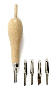 Abig Wooden Handle Lino Cutter  5 Blades