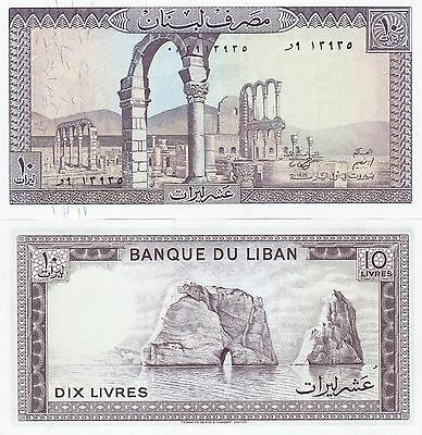 Lebanon,lot Of 5 X 10 Livres, Banknotes Uncirculated,