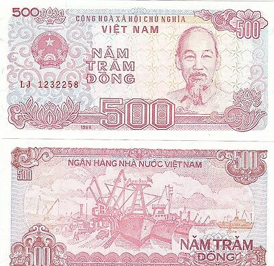 Vietnam 1988,lot Of 5 X 500 Dong Banknotes Uncirculated,