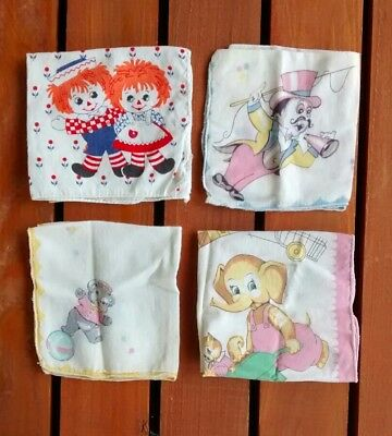 Vintage Girl's Childs Cotton Handkerchief Hankie Lot Circus Squirrel Raggedy Ann