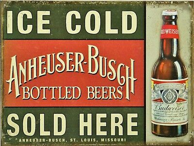 "Ice Cold Budweiser Sold Here Retro Vintage Nostalgic Metal Tin Sign 9""x12"""