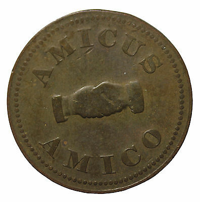 Great Britain Ca. 1800's Amicus Amico Brass Friendship Token
