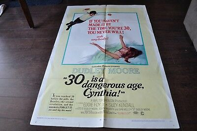 30 IS A DANGEROUS AGE, CYNTHIA! 1968 Dudley Moore Film Poster 27 x 40.5 inches