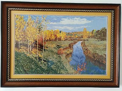 Kreuzstich Stickbild Reproduction Isaac Levitan Completed cross stitch  LARGE