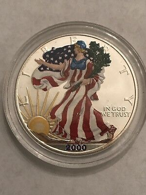 2000 $1 Walking Liberty American Silver Eagle Dollar w/ Painted Artistry Design!