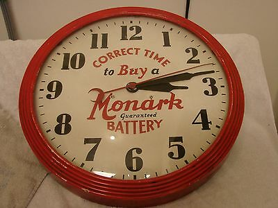"""Rare 1940's Monark Battery Round  Clock 17-1/2"""" Wood Frame Correct Time To Buy !"""