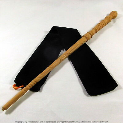 "16"" Hand Turned Carved Real Mahogany Wood Magic Wand Witch Wizard w/ Velvet Bag"