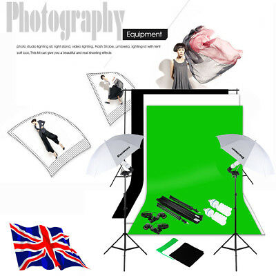 1250W Photography Umbrella Continuous Lighting Kit 3X Background + Light holder