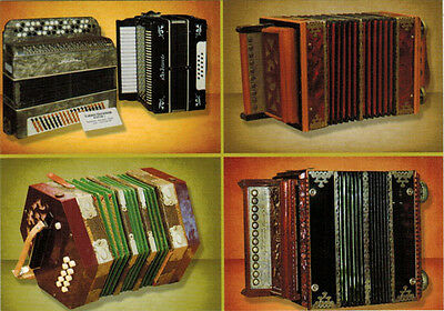Photos of four Button accordions on Modern Russian postcard of regular size