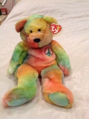 Ty Beanie Buddy Peace The Bear With Tag And Protector