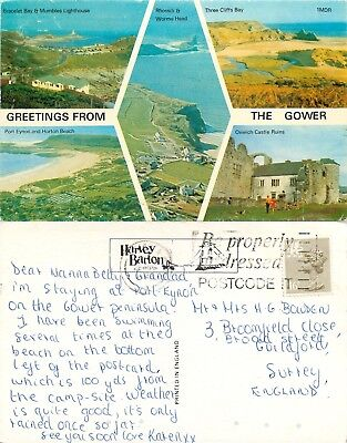 a2371 The Gower, Wales postcard posted 1984 stamp