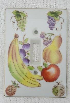 Ceramic Hand Painted Fruit Switch Plate Kelvin Japan Banana Grapes Pear Apple